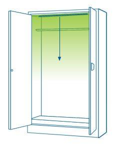 Instalación de iluminación LED en armarios - Proyección desde arriba