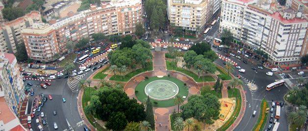 iluminación led plaza circular de Murcia