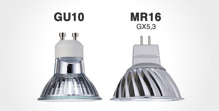 Diferencia entre GU10 y MR16 led