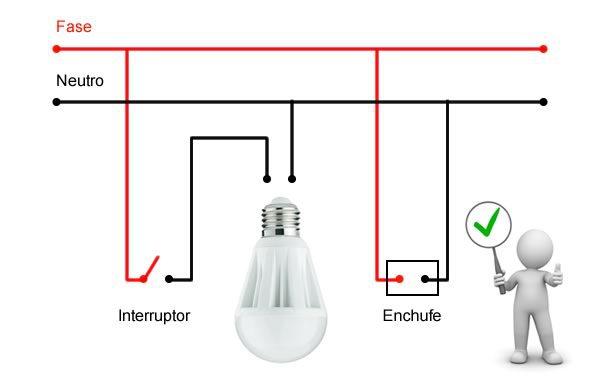 Instalación correcta fase neutro
