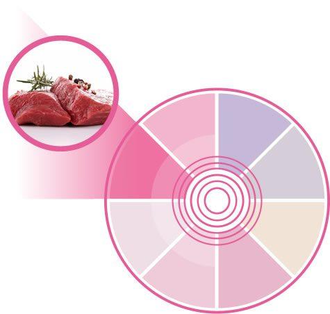 Tonalidad rosada para acentuar la frescura y veteado de la carne