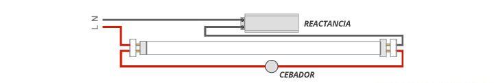 esquema instalacion tubo fluorescente